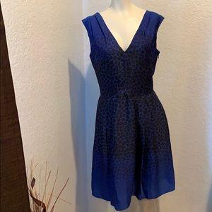 Ann Taylor LOFT A line Blue Cheetah Print Dress